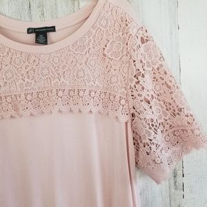 Adrianna Papell Pink Lace Sleeve Top XXL